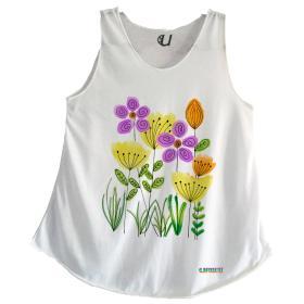 Camiseta Mujer Tirantes Flores Cómoda
