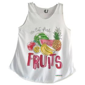 Camisetas Mujer Tirantes Frutas Mosaico