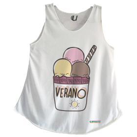 Camiseta Mujer Tirantes Helado Veraniego