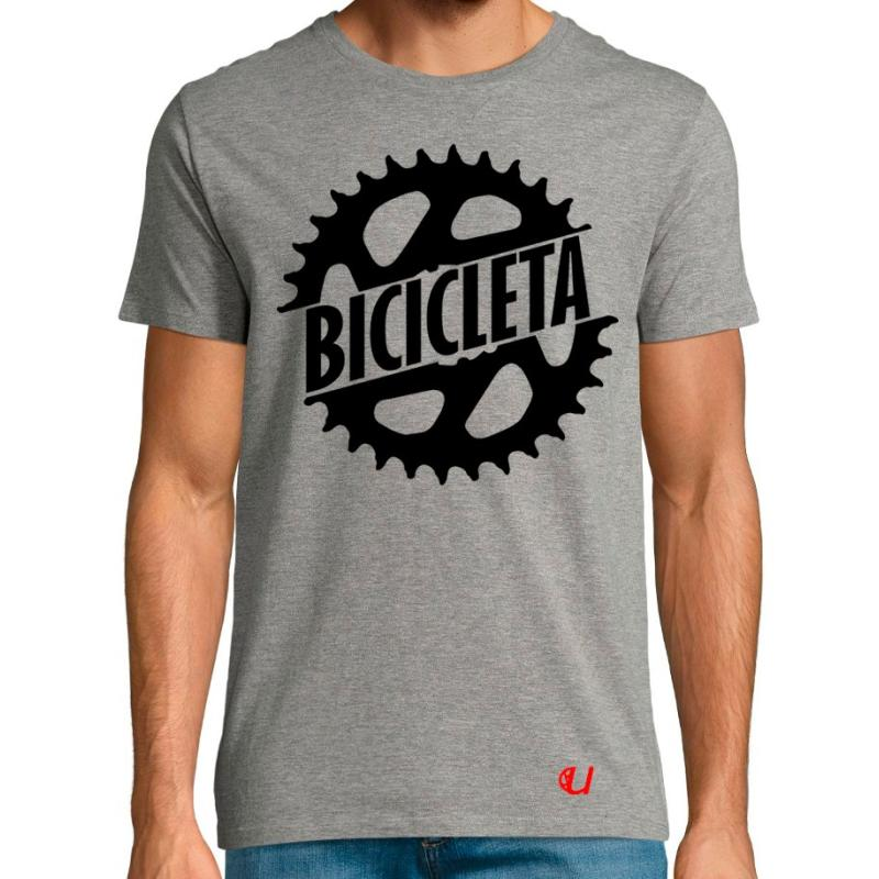Camiseta Bicicleta Plato Gris