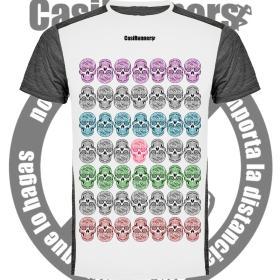 Camiseta running divertida calaveras