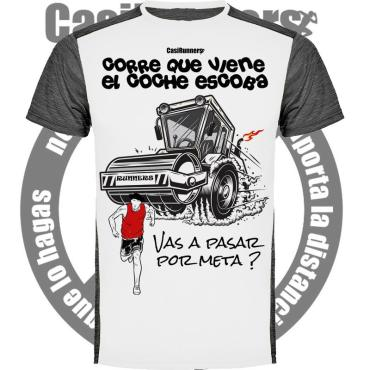 camiseta running coche escoba